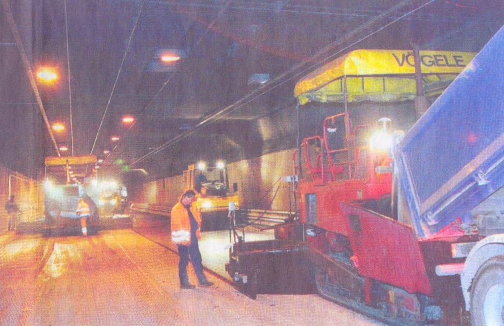 Straßenbelag im Kappelbergtunnel